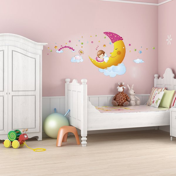 Cartoon Moon Sweet Dreams Kidsroom Removable Wall Sticker