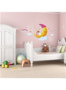 Cartoon Moon Sweet Dreams Kidsroom Removable Wall Sticker