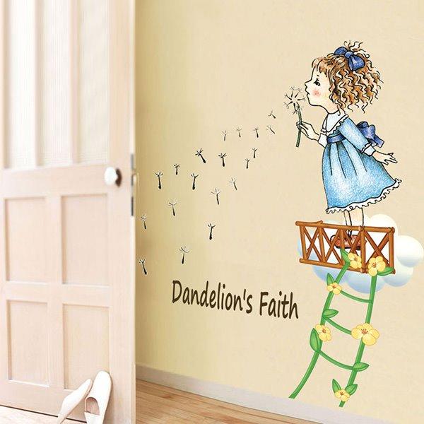 Cartoon Girl Blowing Dandelion Kidsroom Removable Wall Sticker ...