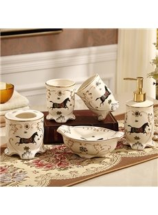 Classical Style Running Horse Print 5 Pieces Bathroom Ensembles