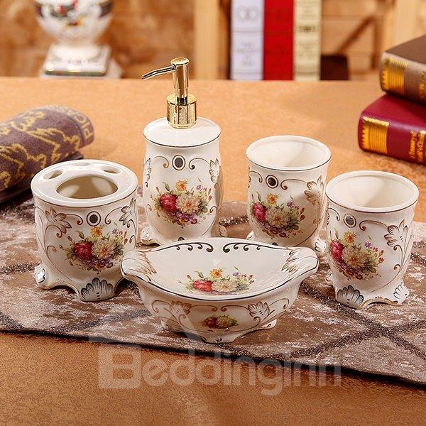 European Style Beautiful Flower Pattern 5 Pieces Bathroom Ensembles