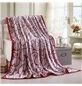 Soft Pretty Bright Red Jacquard Design Blanket