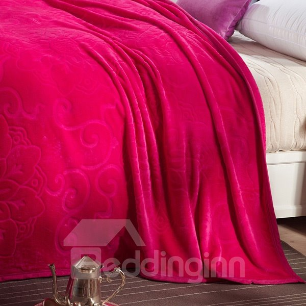 Bright Solid-colored Jacquard Design Super Cozy Rosy Blanket