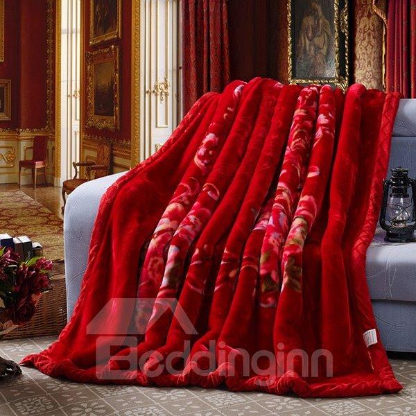Pretty Fiery Red Flowers Print Fluffy Blanket