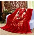 Exquisite Red Floral Printing Blanket for Winter