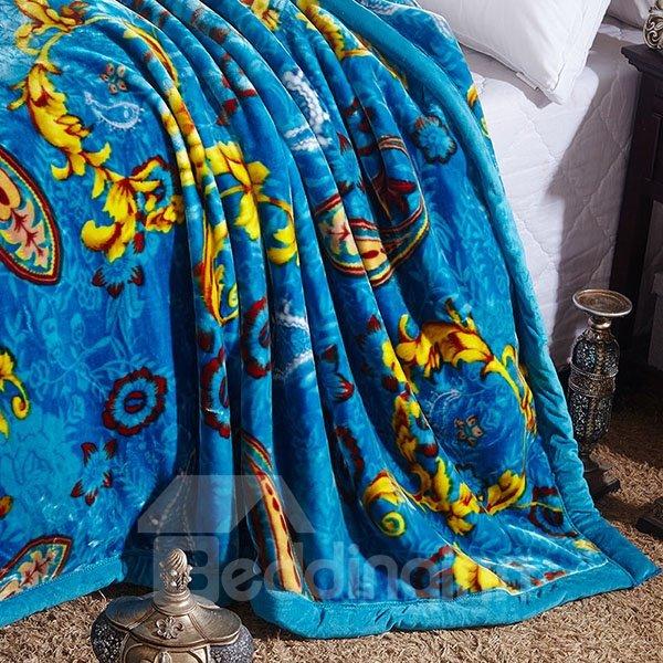 Exotic Exquisite Jacquard Design Warm Blue Blanket