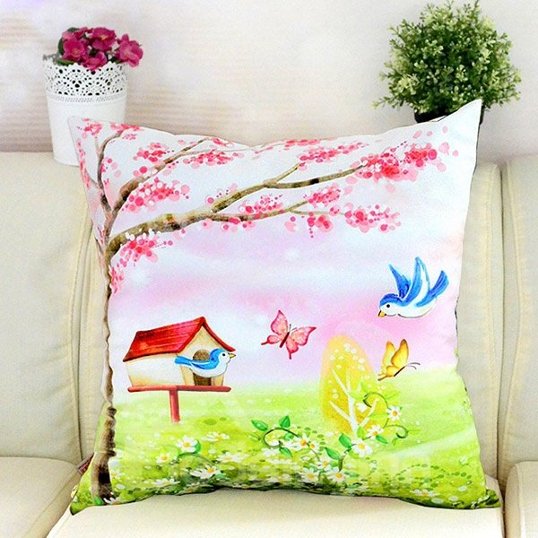 Pastoral Flying Birds Butterflies Printing Plush Throw Pillow