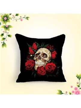 Chic Skull and Red Roses Printing Black Cotton & Linen Throw Pillow