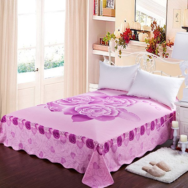 Graceful Light Purple Roses Printing Cotton Sheet