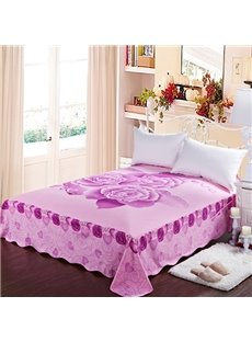 Graceful Light Purple Roses Printing Cotton Sheet