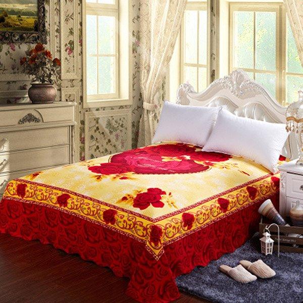 Romantic Red Rose Jacquard Design Cotton Sheet