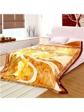 Graceful Yellow Floral Print Thick Warm Raschel Blanket
