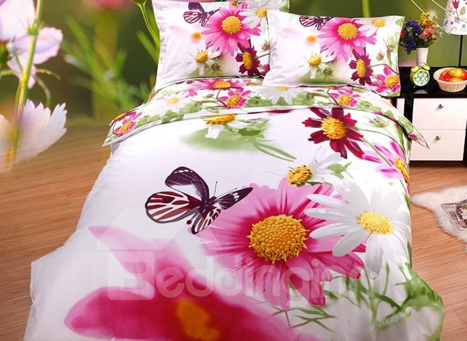 Colorful Fresh Daisy Butterflies Printing Cotton 4-Piece Duvet Cover Sets