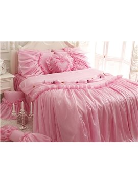 Pink Princess Style Kids 4-Piece Duvet Cover Set