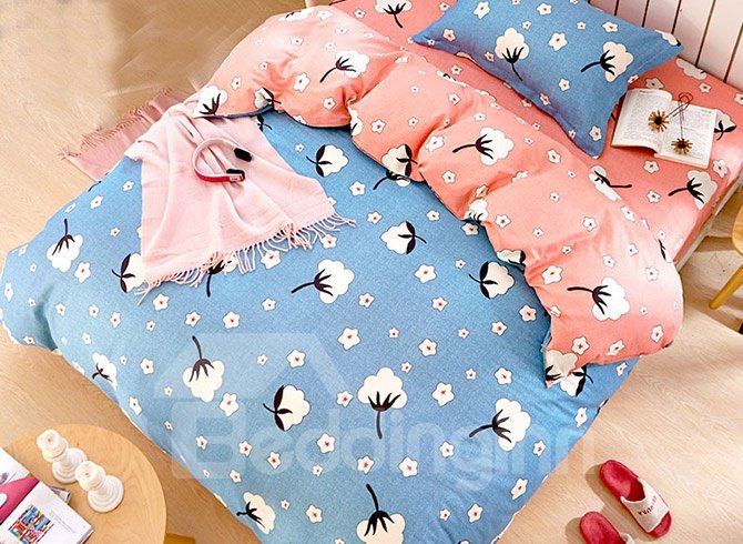 Lovely Cotton Flowers Pattern Kids 3-Piece Duvet Cover Set