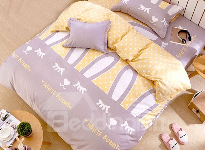 Adorable Rabbits Pattern Kids 3-Piece Duvet Cover Set