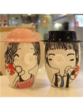 Romantic Hand-Drawn Lovers 1-Pair Ceramic Coffee Mug Sets