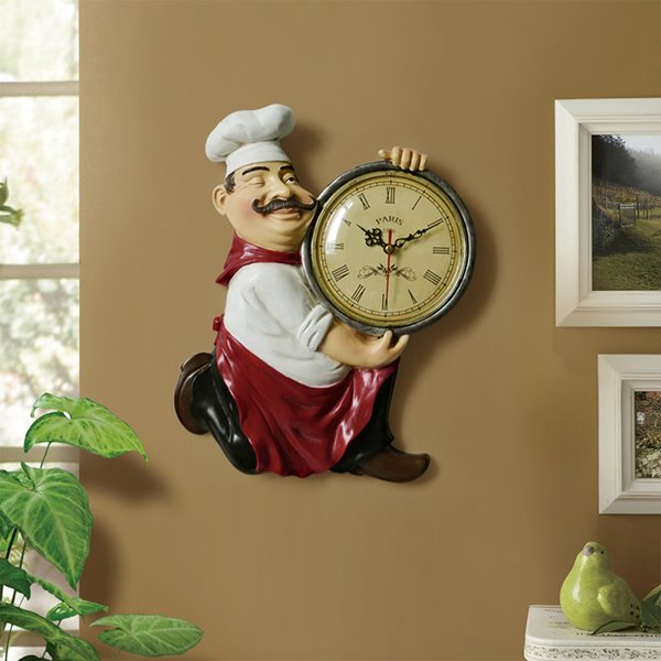 Vintage Resin Chef Hanging Dining room / Kitchen Wall Clock