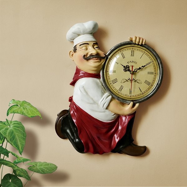 14 Vintage Resin Chef Hanging Dining Room / Kitchen Wall Clock