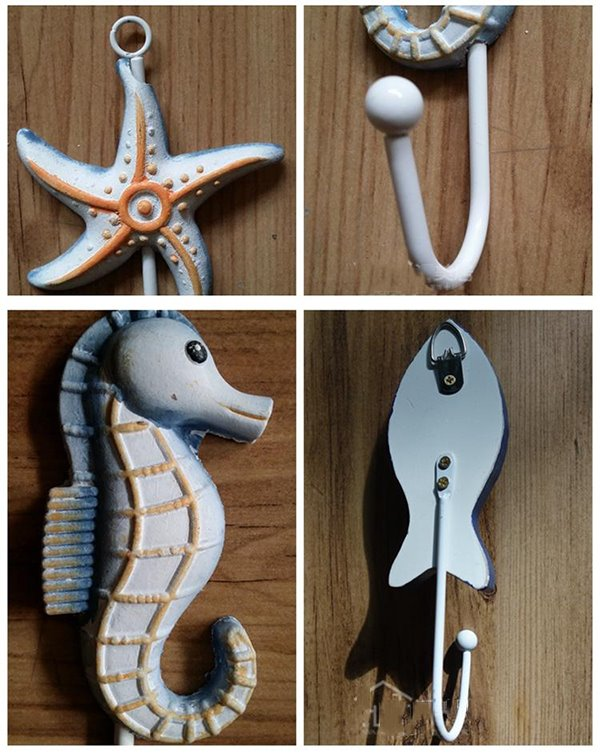Mediterranean Style Seashells and Sea Fish Design 9-Hook Wall Hooks