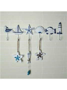 Mediterranean Style Decorative 6-Hook Wall Hooks