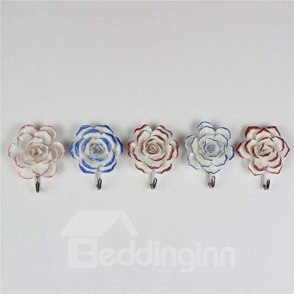 Wonderful 3D Ceramic Flowers Design Decorative 5-Hook Wall Hooks