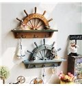 Mediterranean and Retro Style Wooden Sailing Rudder Design Wall Hooks