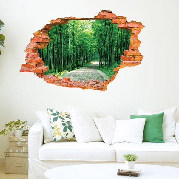 Wonderful Wall Hole View Green Forest Lane Removable 3D Wall Stickers