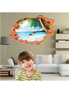 Creative Wall Hole View Beach and The Sea Removable 3D Wall Stickers