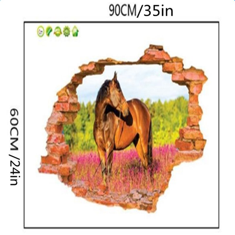 Natural Style Horse Standing in Field and Hole 3D Wall Stickers