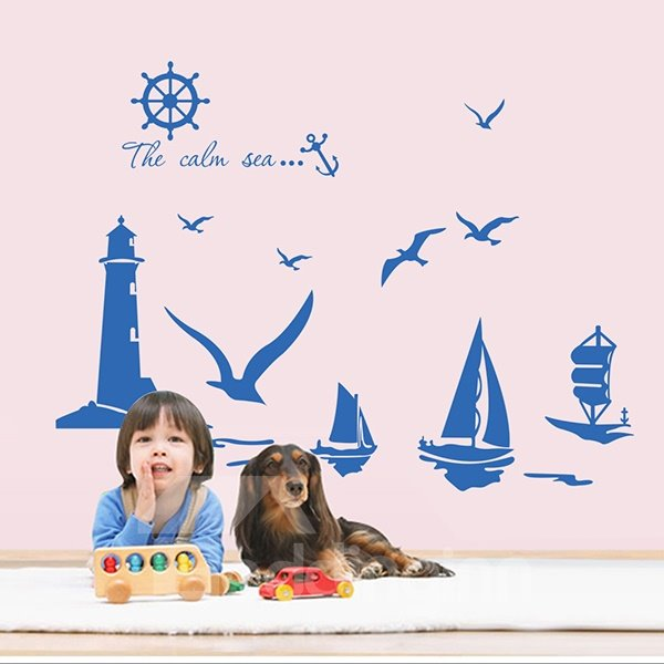 Wonderful Out at Sea Sailing Boat Seagulls and Lighthouse Removable Wall Sticker