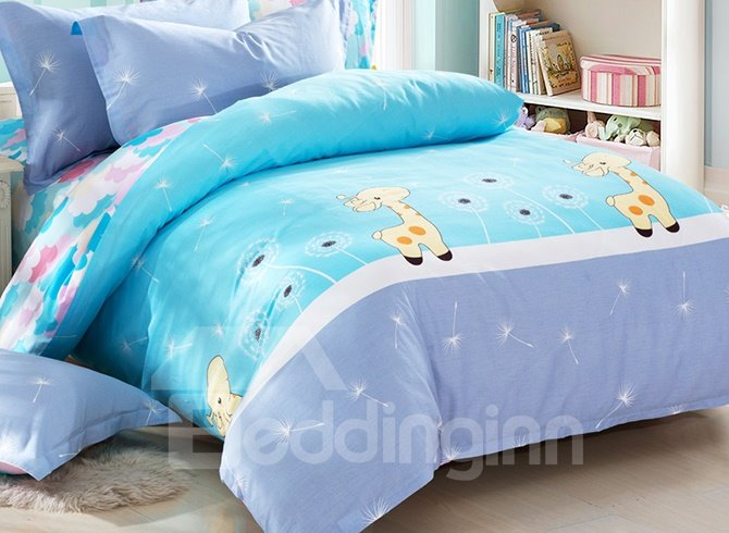 Fresh Blue Lovely Deers Print 3-Piece Kids Cotton Duvet Cover Sets