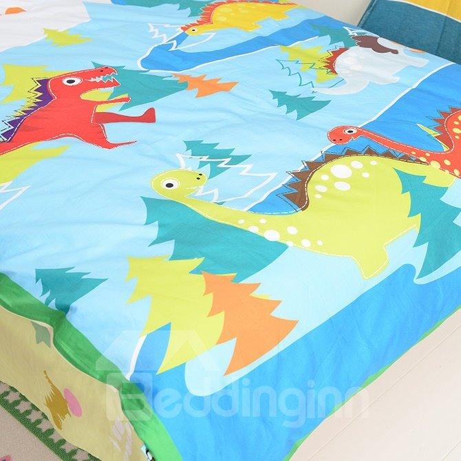 Lovely Dinosaurs Print Cotton 4-Piece Kids Duvet Cover Sets