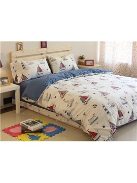 Lovely Sailing Ships Pattern Cotton 3-Piece Kids Duvet Cover Sets