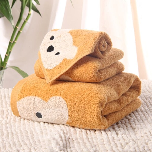New Design Cartoon Bear Soft 100% Cotton Bath Tower Set