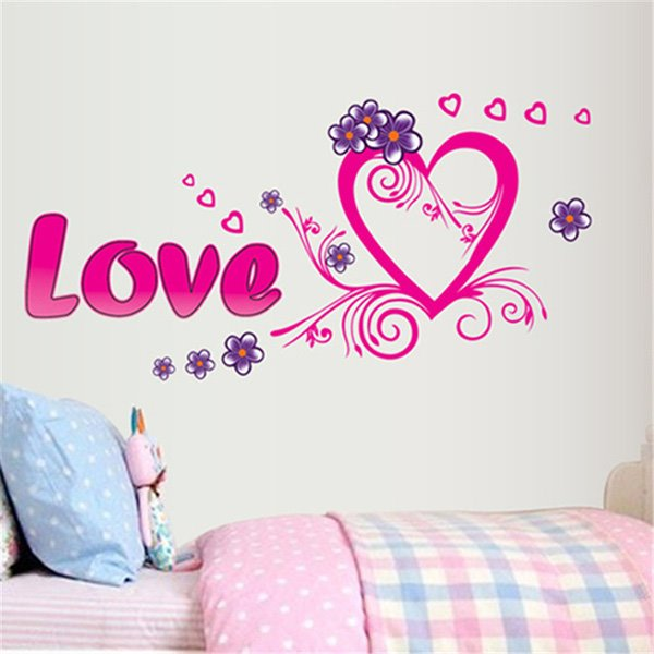 Romantic Love and Heart Removable Wall Sticker
