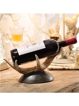 European Style Vintage Deer Antler Design Resin Wine Rack