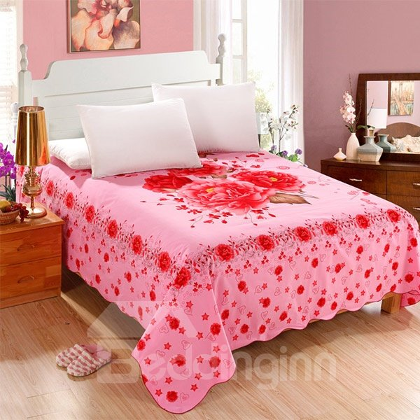 Beautiful Red Peonies with Pink Background Cotton Printed Sheet