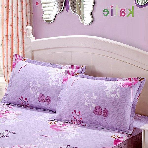 Elegant Floral Printing 2-Piece Light Purple Pillow Cases