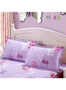 Elegant Floral Printing 2-Piece Light Purple Pillow Cases