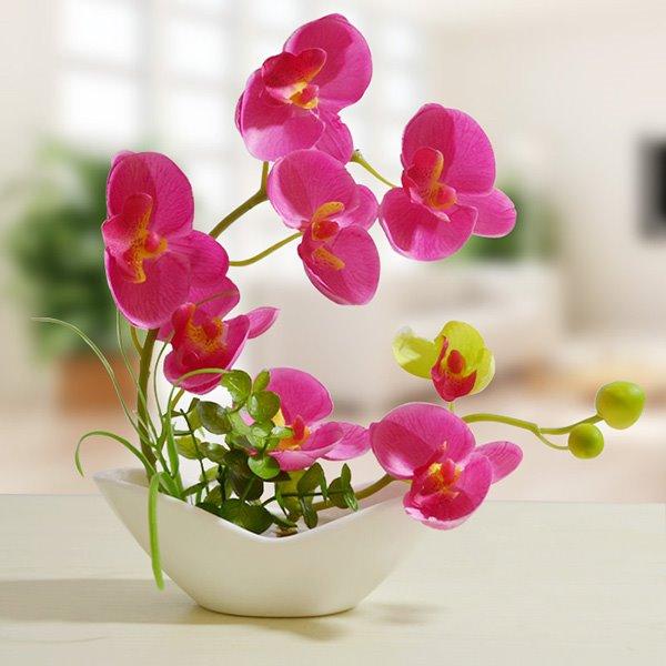 Stunning Orchid Silk Artificial Flower Set Desktop Decoration
