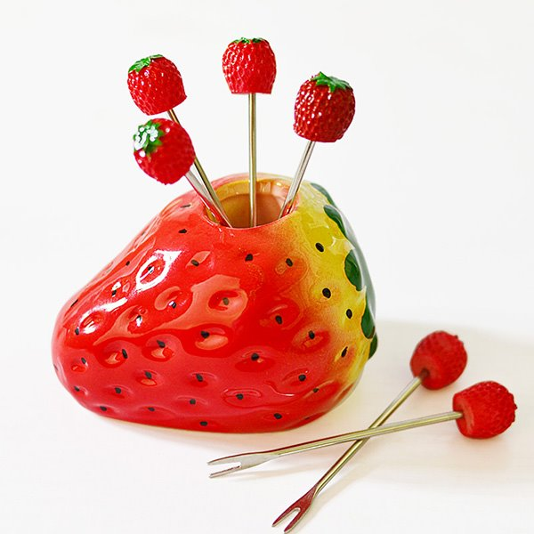 Cute Strawberry Design Resin Fruit Forks Desktop Decoration
