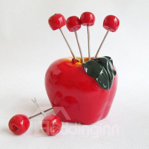 Cute Apple Design Resin Fruit Forks Desktop Decoration