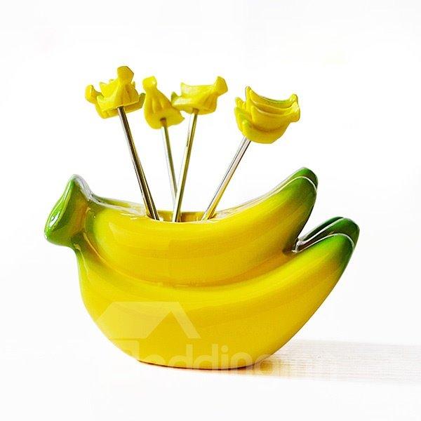 Creative Banana Design Resin Fruit Forks Desktop Decoration