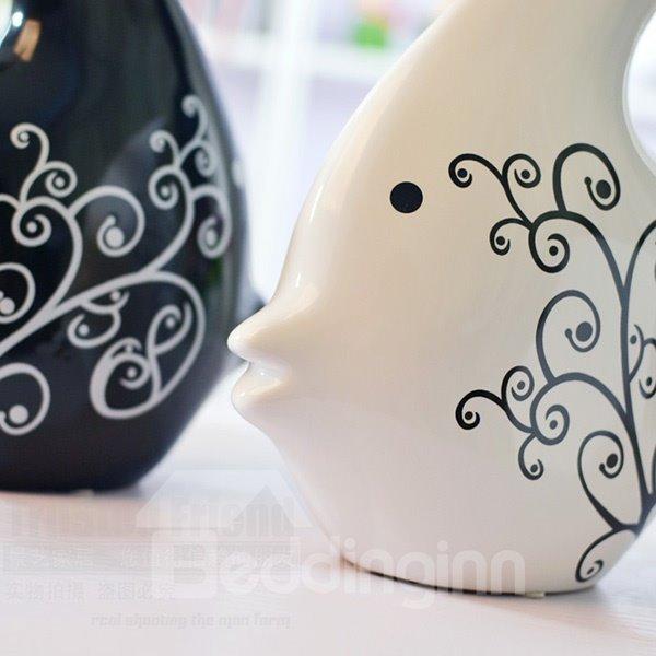 Wonderful Ceramic Fish Design 1-Pair Desktop Decoration