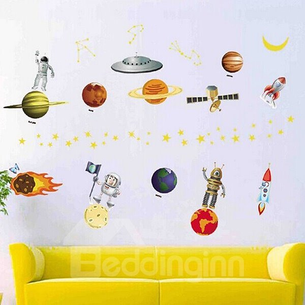 Vivid Astronaut and Planets Wall Sticker for Baby&Kids
