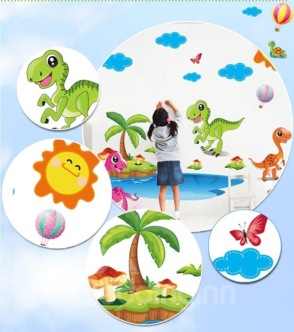Super Cute Dinosaur on The Beach Wall Sticker for Baby&Kids