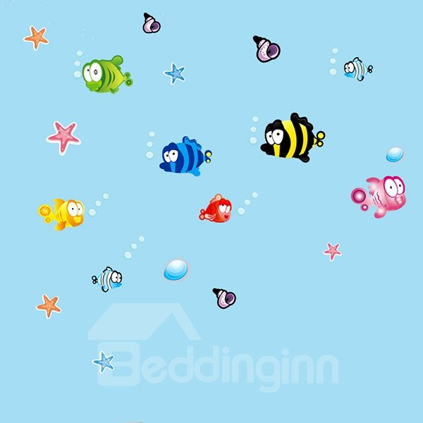 Lovely Colorful Cartoon Flatfish Wall Sticker for Baby&Kids