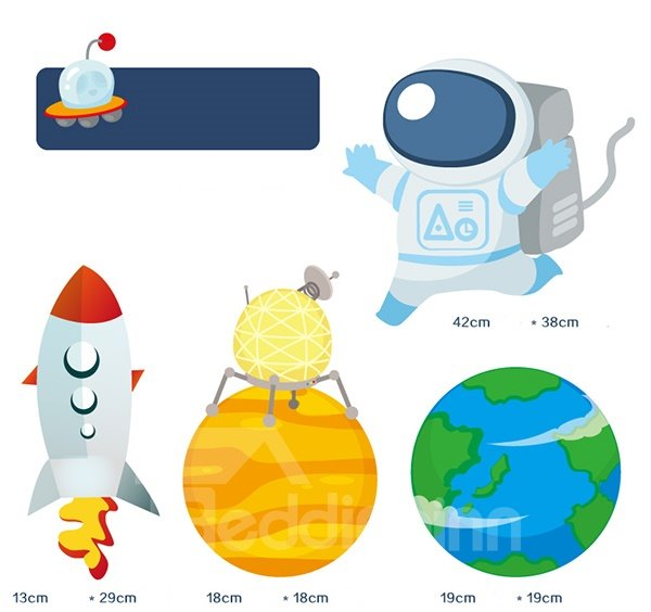 Cute Astronaut in Space Pattern Wall Sticker for Baby&Kids