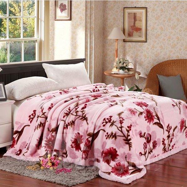 Pretty Floral Printing Sweet Pink Raschel Blanket